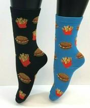 2 PAIRS Foozys Women's Socks HAMBURGER & FRIES Print, Fast Food, NOP - $8.09