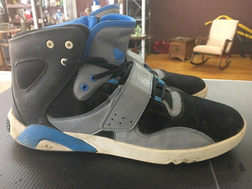 MEN'S ADIDAS ROUNDHOUSE MID Black Blue Gray Leather Trainers G59829 Size 11 D95