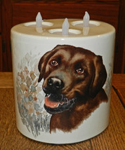LOVELY CERAMIC CHOCOLATE LABRADOR RETRIEVER TRIPLE TEA LIGHT CANDLE HOLDER! - $18.49