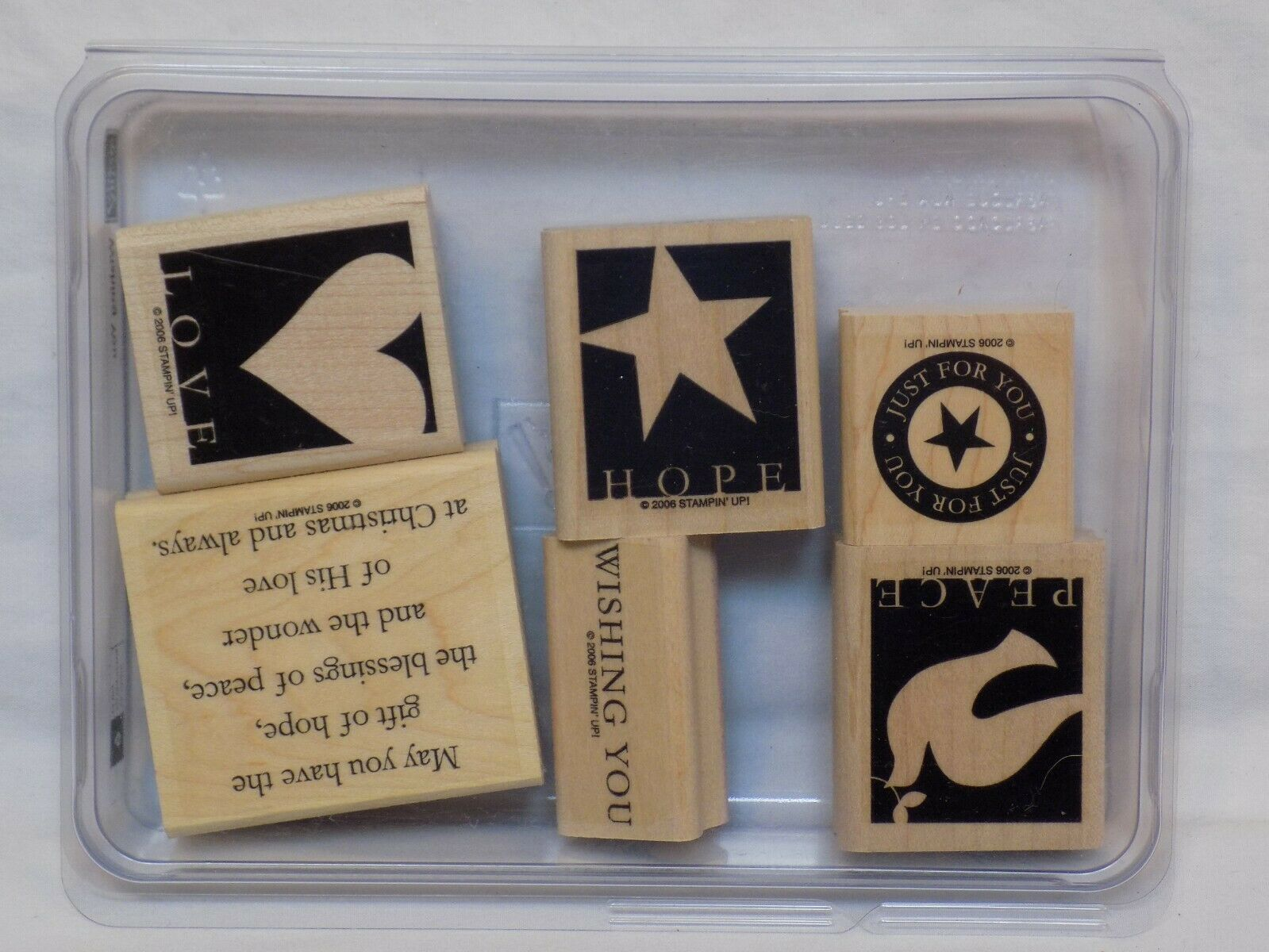 Primary image for 6 Stampin Up Wishing You Stamp Set Peace Hope Love Just For May Have Gift of LOT