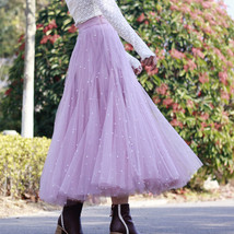 Black Party Skirt Outift  Long Tulle Skirt Plus Size Black Tutu Skirt Pearl deco image 4