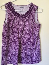Basic Editions Purple Plum print sleeveless TOP BLOUSE. Misses S. Barely... - $4.99