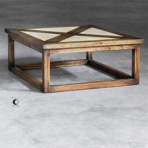 "RECLAIMED 42"" DISTRESSED MAHOGANY WOOD COCKTAIL COFFEE TABLE NATURAL GRA... - $877.80"