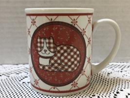 Vintage Calico San Francisco Coffee Mug Plaid Cat Red Flowers Band Porce... - $9.00