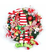 ALLYORS Christmas Elf Door Wreath Decoration with Candy Strip Hat and Da... - $149.99