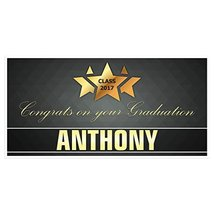 Gold Star with Ribbon Graduation Banner Personalized Class of 2017 Party... - £17.34 GBP