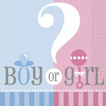 Gender Reveal Party Girl Boy ? Baby Shower 24 Napkins Beverage Small - $2.84
