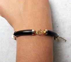 Chinese Script Bracelet Curved Tube Beads Linked Fortune Tokens Black Go... - $16.44