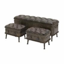 Storage Bench Set Vintage Decorative Trunk Entryway Footstool Bedroom La... - £342.08 GBP