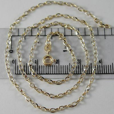 18K YELLOW WHITE GOLD CHAIN MINI 2 MM ROLO OVAL MIRROR LINK 17.70 MADE IN ITALY