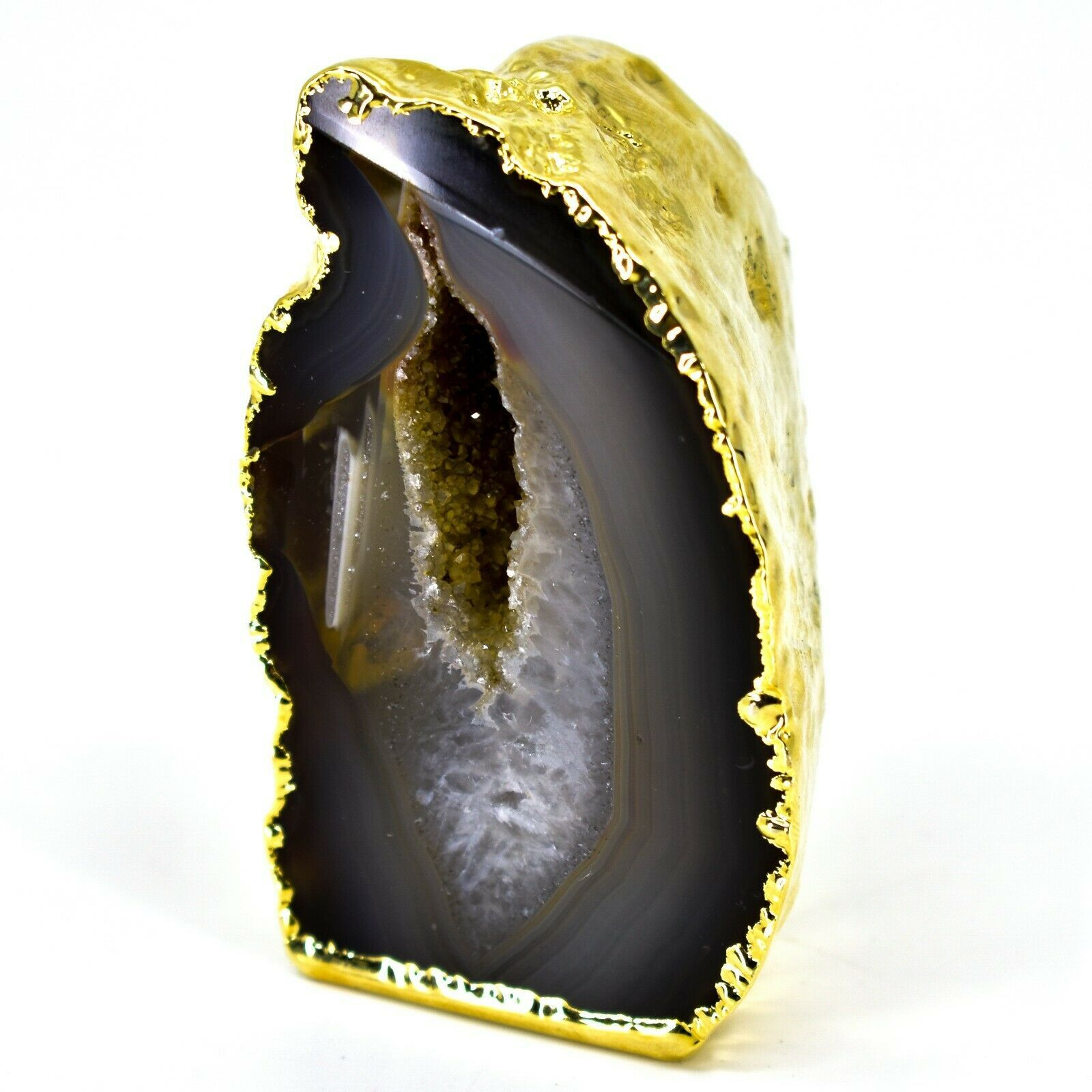"""Grey Brown Dyed Polished Agate Stone Gilded Gold 2.75"""" Paperweight Display Rock"""
