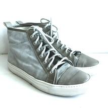 Y-0604 Pre-owned Ralph Lauren Mens Gray Suede Hi-top Sneakers Shoes Size... - $149.99