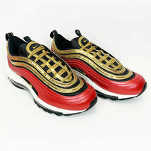 Nike Air Max 97 Red Metallic Gold Sequin Womens Size 7.5 CT1148 600 New W/ Box - $121.22