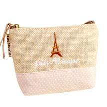 ZAKKA Retro Eiffel Tower Pattern Linen Pocket Coin Purse/Wallet/Pouch Beige&Pink