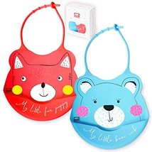 2 Sets of Silicone Waterproof Baby Feeding Bibs Comfortable, Soft, Adjus... - $16.65
