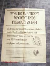 1964 New York World's Fair Ticket Discount Poster - $19.99