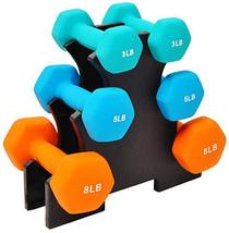 Sporzon! Colored Neoprene Coated Dumbbell Set with Stand, Multiple - $119.99