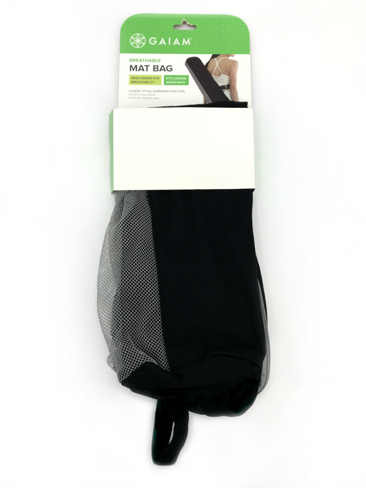 Gaiam Breathable Mat Bag Classic Style Black/Gray adjustable strap #2105 - £4.14 GBP