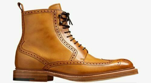 Handmade Men's Tan High Ankle Wing Tip Heart Medallion Lace Up Leather Boots