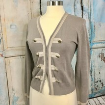 CAbi Corporal Military Sweater, Size S, Taupe w/ Trim Detail & Brass But... - $17.26