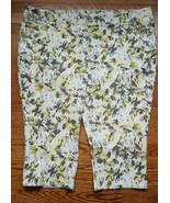LANE BRYANT Womens size 28 White Green FLoral Cotton Denim Capris New - $8.86