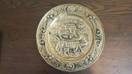 """Embossed Brass Plate Wall Hanging- Old Pub Scene- Made in England 14"""" - $13.40"""