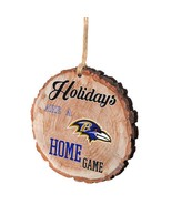 NFL RAVENS Team Logo Wood slice chip log Holiday Christmas Tree Ornament... - $8.00