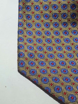 "Brooks Brothers Men Dress Silk Tie Gold Blue Print 61"" long 3.75"" wide - $38.75"