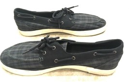 Polo Ralph Lauren Lander Black Green Sapphire Plaid Logo Sneakers Boat Shoes 15 - $53.73 CAD