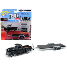 1950 Chevrolet Pickup Truck Matte Black with Open Car Trailer Limited Ed... - $23.74