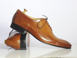 Handmade Men's Tan Leather Lace up Dress/Formal Oxford Leather Shoes image 4