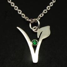 Sterling Silver Vegan Vegetarian Symbol Necklace - $52.00