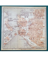 1897 BAEDEKER MAP - ENGLAND Portsmouth City Plan & Chichester Cathedral ... - $7.65