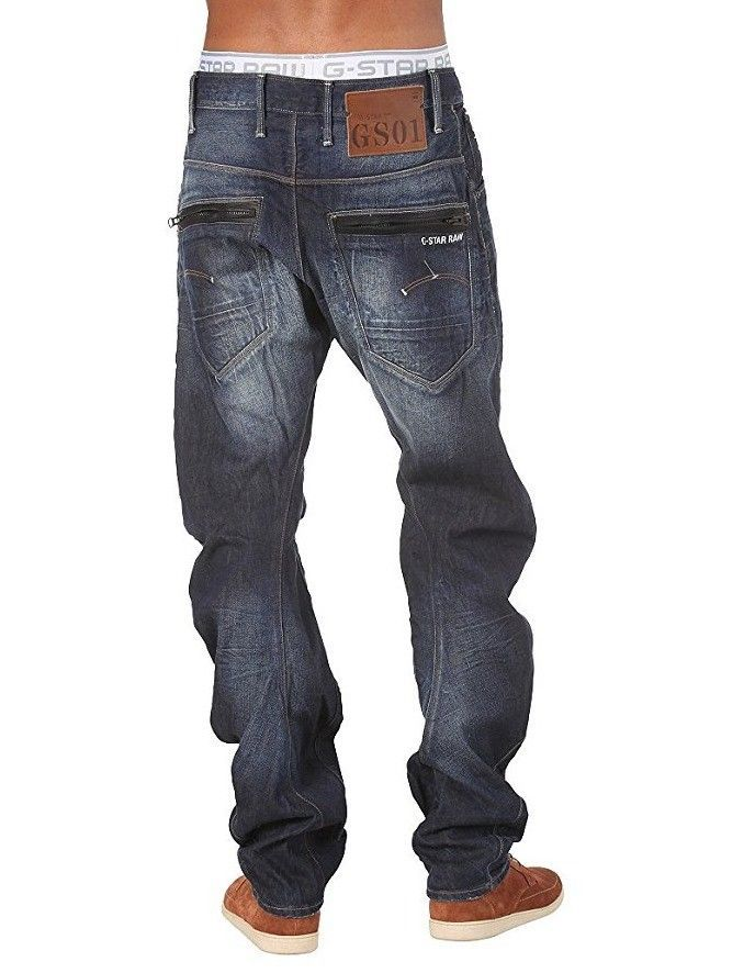 G-Star Raw 3301 Slim Medium Aged W36 L34  Mens Blue Hydrite Denim Jeans