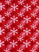Per Fat Quarter Snowflake Holiday Christmas Red, Pink, White Dots, Quilt... - $2.37