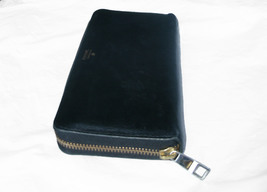 Fossil Leather Clutch Wallet Black Ziparound Accordion Organizer - $40.00