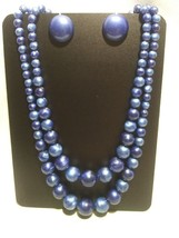 Coro Demi-Parure Blue Multi-Strand Beaded Necklace and Button Screwback ... - $26.00