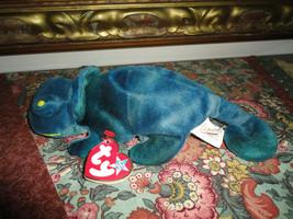 Ty Beanie Baby Rainbow Iguana Lizard 9 in Error Beanie Buddy Swing Tag Rare 1997 - $58.00