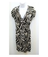 Five by 5 Simon Womens Dress Animal Print Tan Black Cream V-neck Wrap Lo... - $16.99