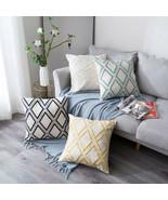 "20x20"" Cotton Linen Geometric Car Waist Sofa Cushion Cover Embroidery Pi... - $17.69"