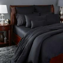 Sferra Solid Black Queen Sheet Set 4PC Soft 100% Cotton Oxford Larino Italy NEW - $396.00