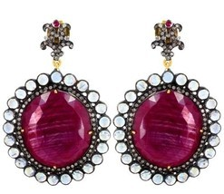 Ruby Gemstone 14k Gold Pave Diamond Dangle Earrings 925 Silver Moonstone... - $1,510.60