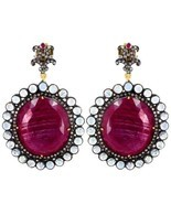 Ruby Gemstone 14k Gold Pave Diamond Dangle Earrings 925 Silver Moonstone... - $1,510.60
