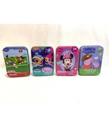 Set of 4 Jigsaw Puzzles w/Tin Boxes Minnie Mickey Mouse Peppa Pig Shimme... - $14.84