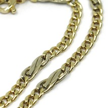 18K YELLOW & WHITE GOLD BRACELET, INFINITY AND GOURMETTE LINK, MADE IN ITALY  image 2