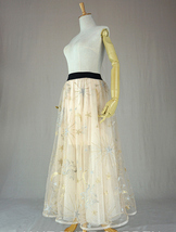 Champagne Maxi Tulle Skirt Outfit Floor Length Tulle Skirt Wedding Party Skirt image 7