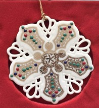 NEW IN THE BOX FIRST IN SERIES Lenox Ruby Lace Snowflake Christmas Ornam... - $44.54