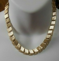 Vintage Signed Coro Gold-tone Box Panel Necklace Pat Pending - $44.55