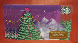 Lot of 4 Starbucks, 2017 Purple Christmas Gift Cards New Unused with Tags - $12.88