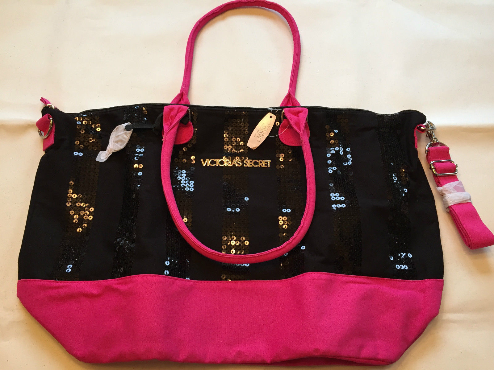 Victoria's Secret Pink/Black Sequin Bling Overnight Weekender Tote Bag